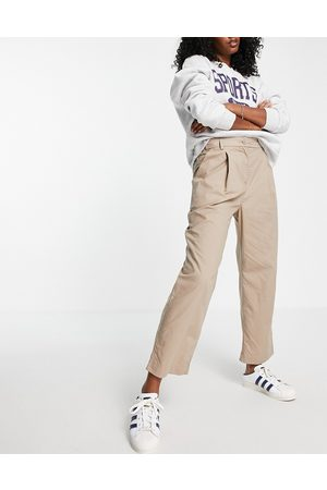 French Connection Pleat front chino trousers in beige-Green