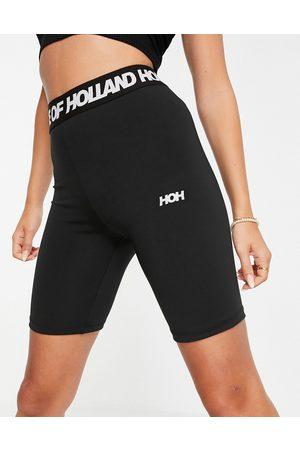 House of Holland Logo short leggings in black