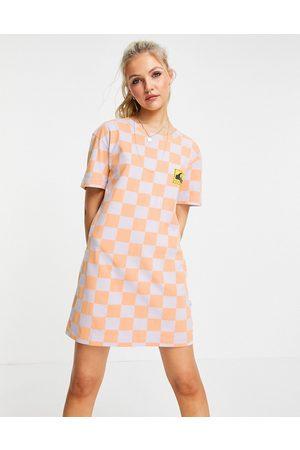 Quiksilver Standard t-shirt checked dress in orange