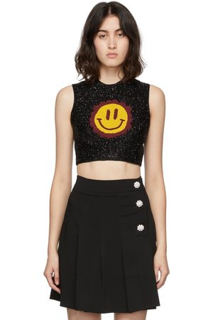 Ganni Smiley Graphic Beaded Tank Top