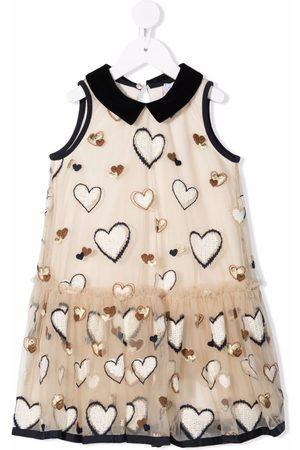 MONNALISA Heart-embroidered sleeveless dress