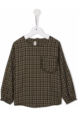 Babe And Tess Plaid patch pocket top