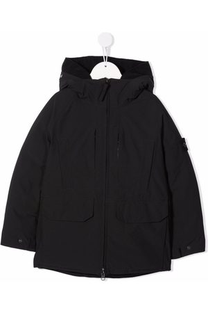 Stone Island Jongens Donsjassen - Logo-patch hooded jacket