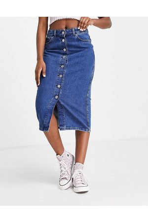 French Connection Button down denim midi skirt in blue