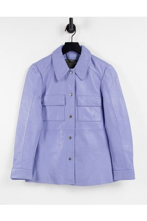 Muubaa Dames Blouses - Pocket front leather shacket in cornflower blue