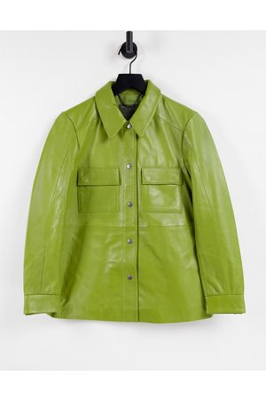 Muubaa Dames Blouses - Pocket front leather shacket in sage green
