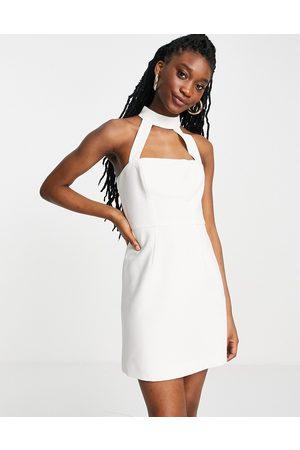 French Connection Dames Feestjurken - High neck mini dress in white