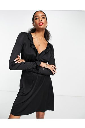 French Connection Dames Feestjurken - Sonike bamboo jersery wrap mini dress in black
