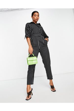 Liquorish Dames Playsuits - Tailored jumpsuit in pinstripe black and white-Multi