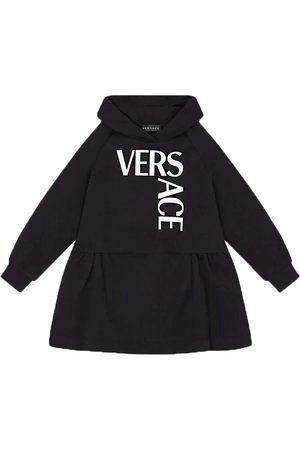 VERSACE Girls Logo Hoodie Dress Black - 8 BLACK