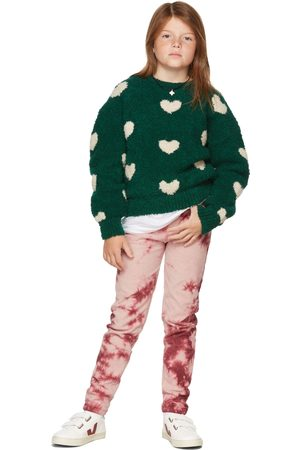 The Campamento Kids Green & Off-White Hearts Sweater