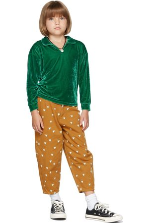 The Campamento Poloshirts - Kids Green Velour Long Sleeve Polo
