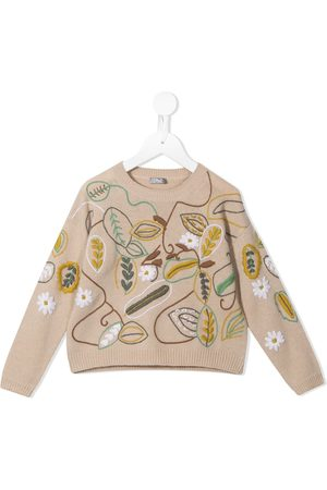 Il gufo Floral-embroidered wool sweater
