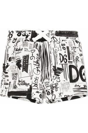 Dolce & Gabbana Elasticated graffiti-print shorts