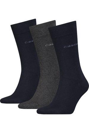 Calvin Klein Heren Sokken - Basic logo 3-pack blauw & grijs