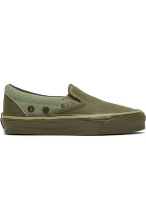 Vans Dames Instappers - Khaki Nigel Cabourn Edition OG Classic Slip-On LX Sneakers