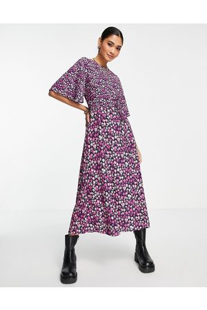French Connection Bethany Verona flutter sleeve midi dress in purple ditsy floral-Multi