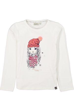 Garcia Meisjes Lange mouw - Witte longsleeve met print j14602 1529 warm white