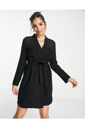 French Connection Semi-sheer tie waist blazer dress co-ord in black