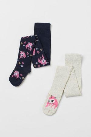 H&M Meisjes Panty's - 2 fijngebreide kousenbroeken