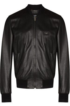 Dolce & Gabbana Logo-plaque leather bomber jacket