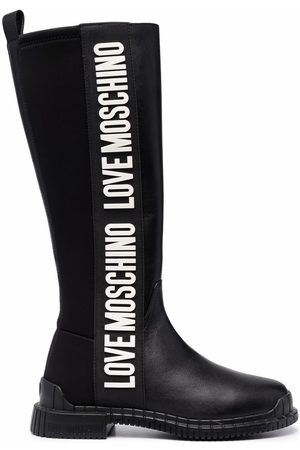 Love Moschino Logo print over the knee boots