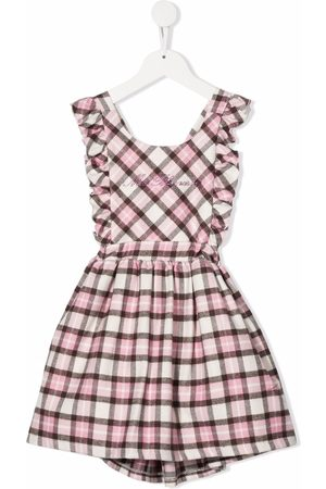 MISS BLUMARINE Logo-embroidered checked pinafore dress