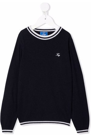 FAY KIDS Embroidered-logo knitted jumper