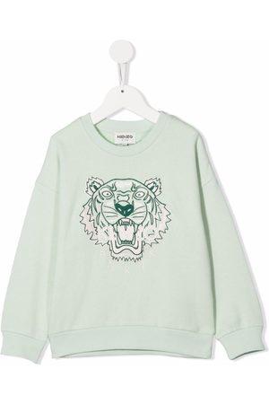 Kenzo Tiger Head-embroidery cotton-blend sweatshirt
