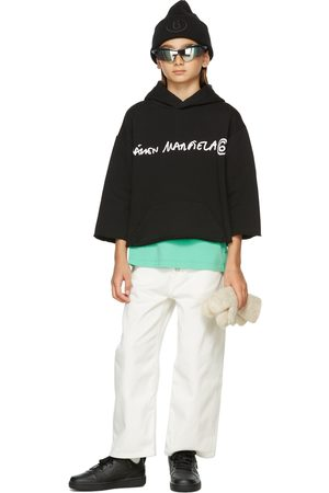 MM6 MAISON MARGIELA Sweaters - Kids Black Cropped Signature Hoodie