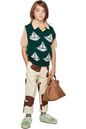 The Animal Observatory Broeken - Kids White & Brown Cow Camel Trousers
