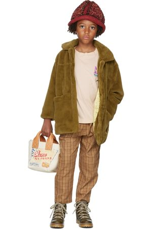 Repose AMS Chino's - Kids Tan Check Chino Trousers