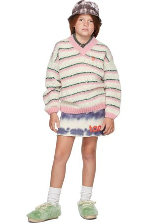 The Animal Observatory Sweaters - Kids White & Pink Stripes Toucan Sweater