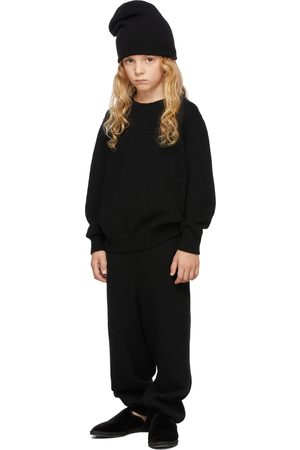 The Row Broeken - Kids Black Cashmere Louie Lounge Pants