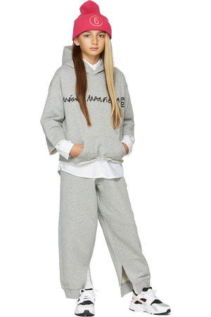 MM6 MAISON MARGIELA Sweaters - Kids Grey Cropped Signature Hoodie