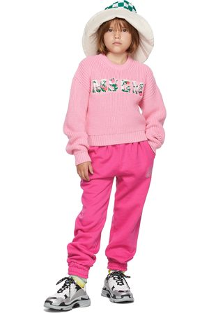 Msgm Sweaters - Kids Pink Floral Logo Sweater