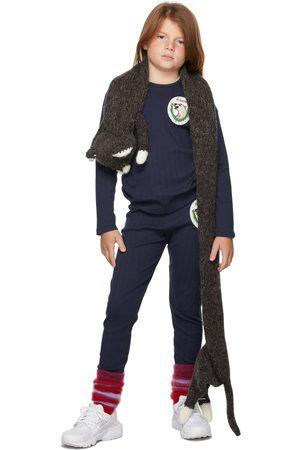 Mini Rodini Kids Navy Polar Bear Patch Long Sleeve T-Shirt