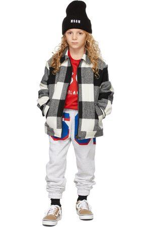 Msgm Kids Black & White Plaid Jacket