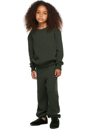 The Row Kids Green Cashmere Dewey Sweater