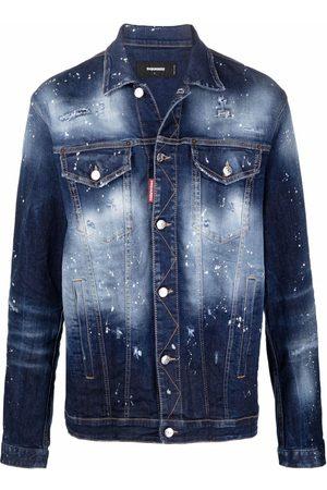 Dsquared2 Paint-splatter distressed denim jacket