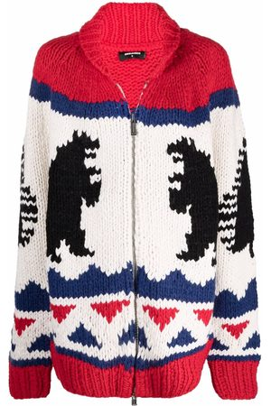 Dsquared2 Knitted intarsia zip-up jacket