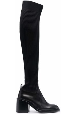 Jil Sander Ribbed leather over-the-knee boots