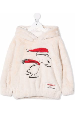 The Marc Jacobs X Peanuts snoopy-embroidered faux-fur hoodie