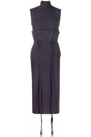 ALEX PERRY Laced-belt high-neck dress