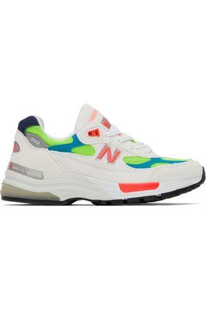 New Balance White & Green Made In US 992 Sneakers