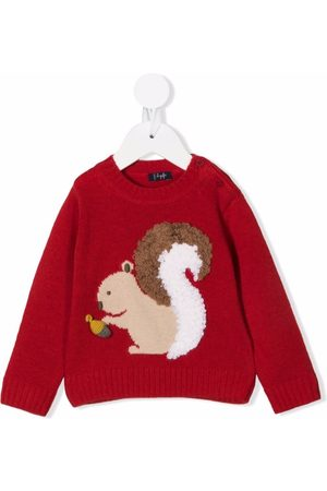 Il gufo Squirrel-embroidered knitted jumper