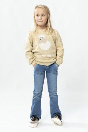 Sissy-Boy Beige sweater met hond en ballonmouwen