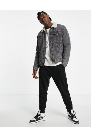 Only & Sons Borg lined denim jacket in grey
