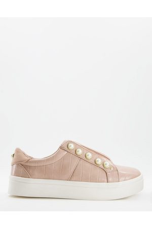 Miss KG Kassie pearl lace up trainers with pearl detail in blush-White