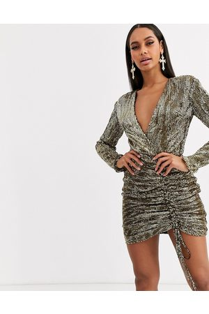 Club L Sequin plunge front ruched mini bodycon dress in gold